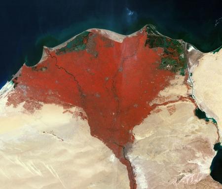 Nildeltau aus dem Weltraum Satellitenfoto Ägypten