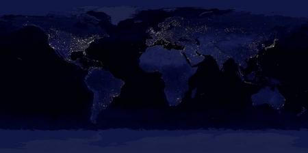 Die Erde nachts. Beleuchtete Wirtschafts- und Ballungszentren Satellitenfoto