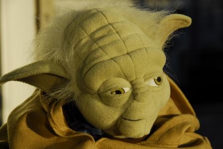 Yoda, scheinbar scharf - der Fokus liegt aber auf dem rechten, weiter entfernten Auge...