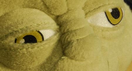 Yoda, Scharfstellung auf das näher liegende, rechte Auge: das Linke Auge liegt noch im Bereich der allerdings sehr niedrigen Schärfentiefe.