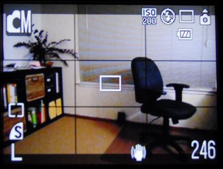 Der Sucher-Monitor der Canon Ixus 860 IS mit eingeblendeten Gitternetzlinien und 4:3-Abdeckungen