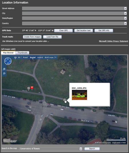 Microsoft Pro Photo Tools: Bilder in die Karte einfügen, oder Karteninformation in ddie Bilder einfügen. das alles geht auch mit Satellitenbildern.