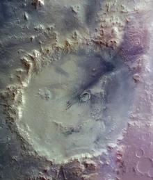 Das glückliche Gesicht vom Mars: Krater Galle (© ESA/DLR/FU Berlin (G. Neukum))