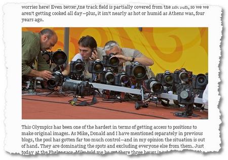 Zu sehen, wie die Fotografen hunderte von ferngesteuerten Kameras einrichten, ist geradezu komisch: Newsweek-Fotograf Vincent Laforet publiziert Einsichten in den Job der Olympia-Fotografen in Wort und vielen Bildern.