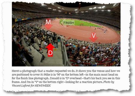 Wo die drei Newsweek-Fotografen für das 100-meter-Finale sich aufstellen: Einblicke in die Strategie eines Foto-Teams bieten die Profis von Newsweek in ihrem Blog. (Screenshot Newsweek)