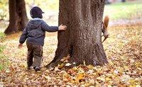 Ein kleiner Junge spielt im Lazienki Park in Warschau mit einem Eichhörnchen Verstecken. (Keystone / EPA / Jacek Turczyk)