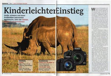 """Wie originell, die Verknüpfung von grossem mit kleinem Nashorn (""""Rhinos""""?). Dafür wurde bei den Produktbildern der Kameras gepfuscht."""