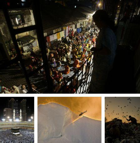 Mumbai, Indien; Mekka, Saudiarabien; Mount Cook, Neuseeland; Islamabad, Pakistan. Klick für Vollansicht (Bilder Keystone)