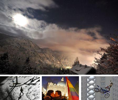 La Clusaz, Frankreich; Genf, Schweiz; Rom, Italien; Bologna, Italien. Klick für Vollansicht. (Bilder Keystone)