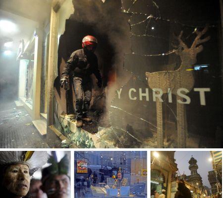 Thessaloniki, Griechenland; Brasilia, Brasilien; Chicago, USA; Mumbai, Indien. Klick für Vollansicht (Bilder Keystone)