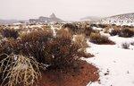 Der Mexican Hat im Schneetreiben des Monument Valley, Utah. (Bild ps)