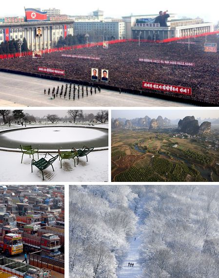 Pyongyang, Nordkorea; Paris, Frankreich; Yangshuo, China; New Mumbai, Indien; Berlin, Deutschland. Klick für Vollbild. (Keystone)