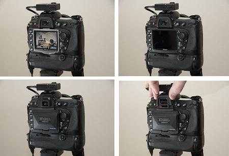 Die Montage erfolgt durch Aufstecken, die Verriegelung mit dem Schieber unter dem Augenschoner am Sucher. Klick für Detailansicht. (Bilder © PS)