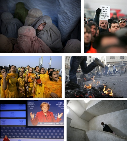 Peschawar, Pakistan; Immingham, England; Amritsar, Indien; Hebron, Israel; Davos, Schweiz; Beit Lahiya, Gaza, Israel. Klick für Voollansicht. (Bilder Keystone)