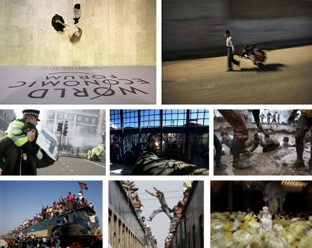 Davos, Schweiz; Gaza City, Gaza; London, England; Gaza City, gaza; Perton, England; Tongi, Bangladesch; Dhaka, Bangladesch; Moskau, Russland. Klick für Vollansicht (Bilder Keystone)