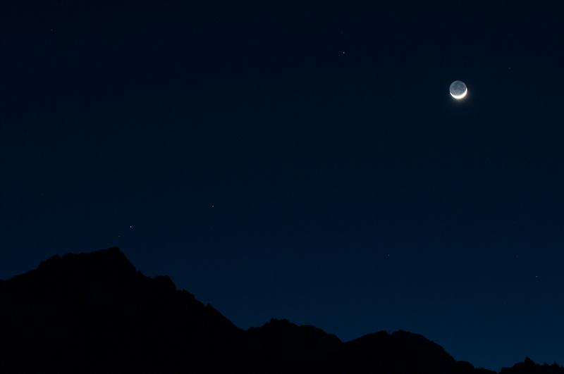 Erdschein auf der Schattenseite des Mondes. (© PS)