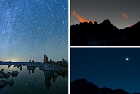 Nächtliche Motive: Sternspuren (© 2009 Rick Trautner) am Mono Lake; Wolkentreiben im Sonnenuntergang am Mount Whitney und von der Erde beschienener Mond über Lone Pine Peak (© 2009 PS)
