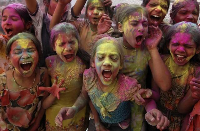 Holi, das Farbenfest in Indien (Keystone)