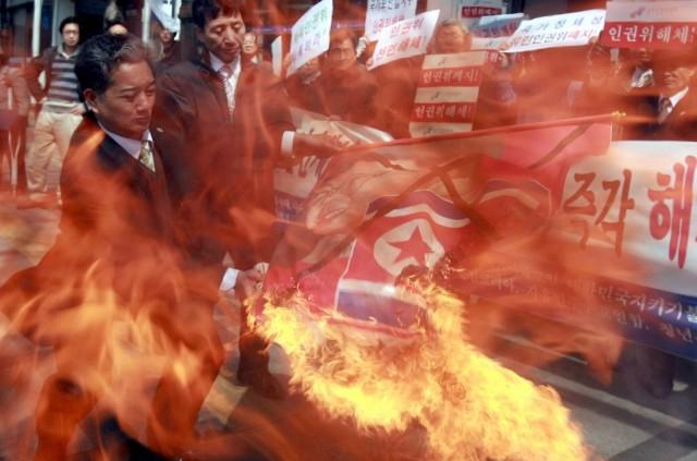 Südkoreanische Flaggenverbrennung (keystone)