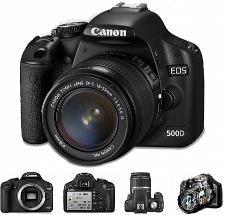 Canon EOS 500D mit Digic-4 Prozessor und Full-HD-Video. (Bilder Canon)