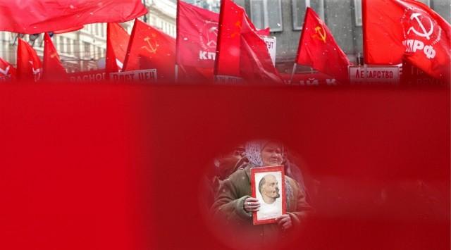 Kommunisten Demonstration in Moskau (keystone)