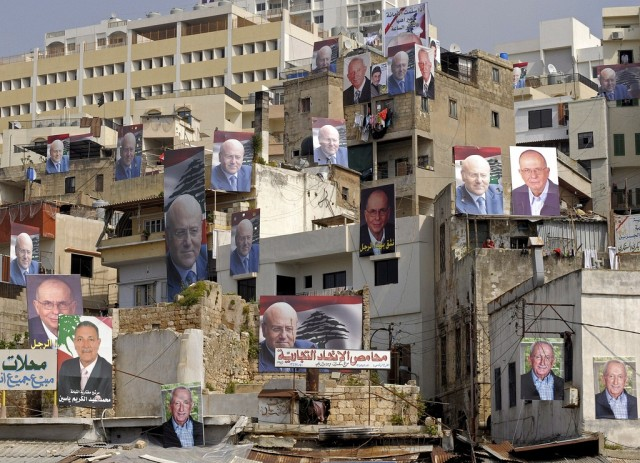 Plakate Libanesische Wahlen (keystone)