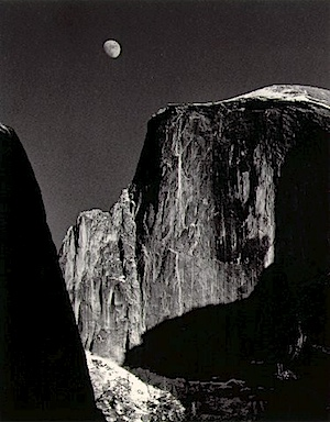 Ansel Adams Moon and Half Dome, Yosemite Valley 1960. Courtesy Masters of Photography
