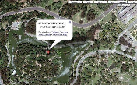 ...landet man in Google maps auf dem Strawberry Hill am Stow Lake im Golden Gate Park.