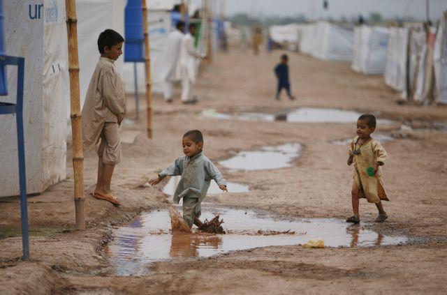Kinder im Flüchtlingslager (Keystone)