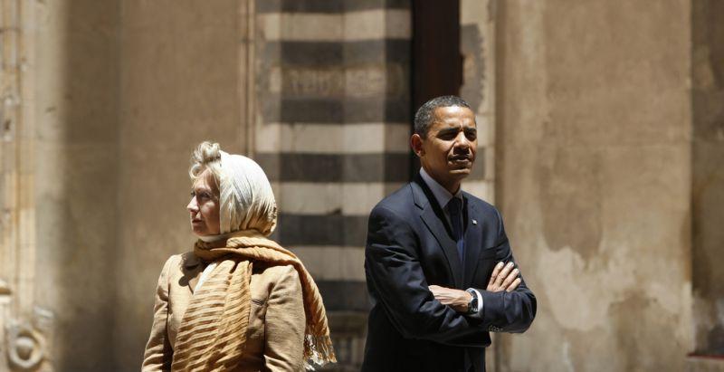 Obama und Clinton (keystone )