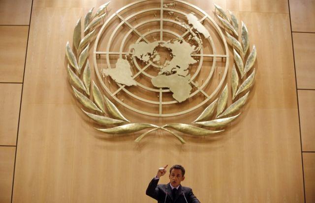 Sarkozy vor der UNO (keystone)