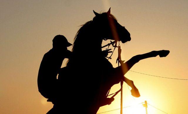 Palästinenser auf Pferd (keystone)