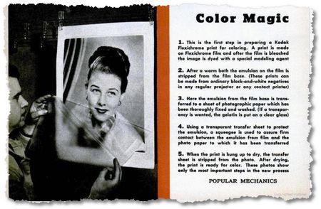 Farbzauber: Eine Gelatineschicht statt Fotopapier wird belichtet und danach bemalt. (Popular Mechanics 1949)