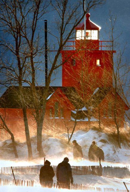 Winter, Leuchtturm, Menschen