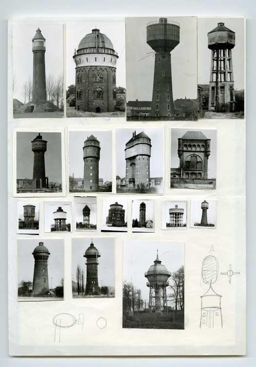 Bernd und Hilla Becher: Collage (Wassertürme / Watertowers), 1967, Courtesy Jack Kirkland Collection, London