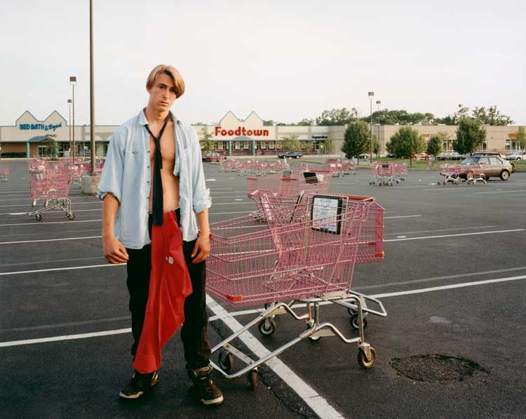 Joel Sternfeld: Young Man Gathering Shopping Carts, Huntington, New York, July 1993 aus der Serie: Stranger Passing