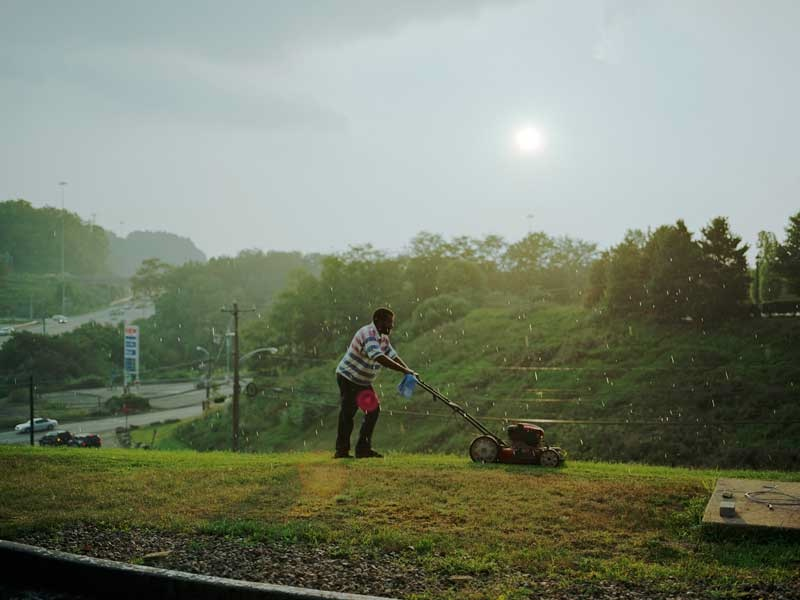 Paul Graham:Pittsburgh, (Man Cutting Grass), 2004 9 Part work From the series a shimmer of possibility