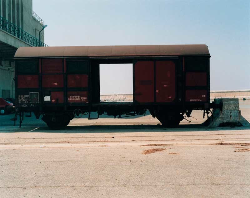 Monique Deregibus: Arenc Dock esplanade, Port of Marseille, Wagon, Marseille August 2000.