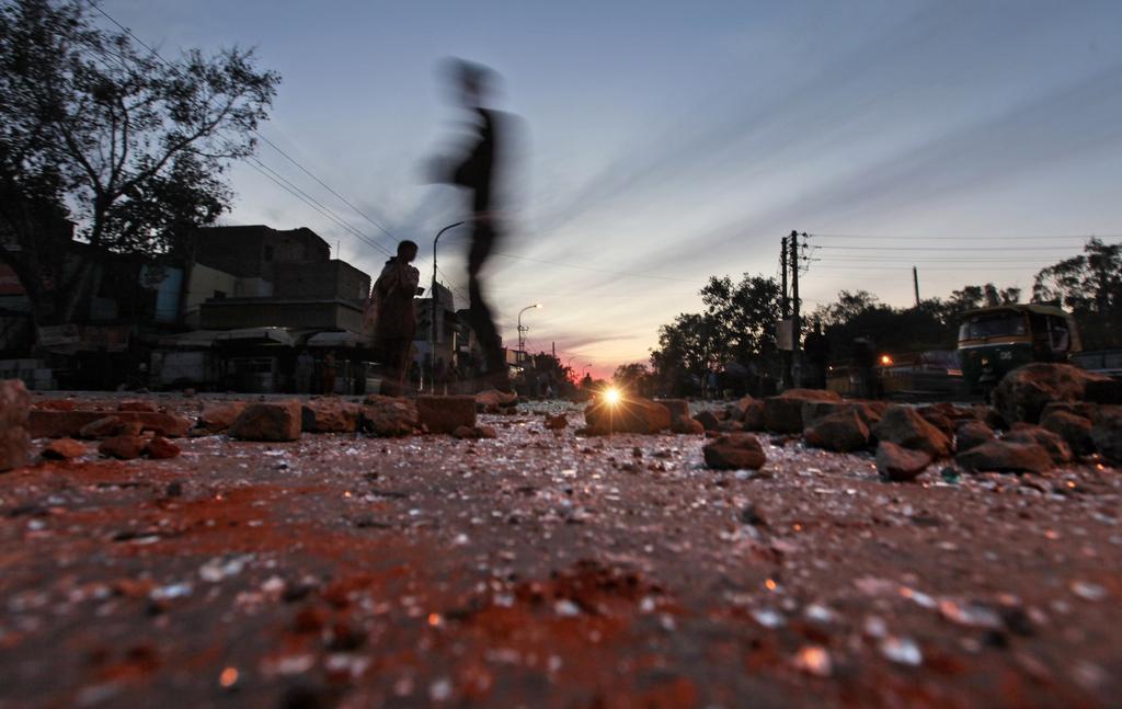 Nach Protesten gegen die Vergewaltigung eines siebenjährigen Mädchens in Neu Delhi, Indien (Keystone / AP Photo / Altaf Qadri)