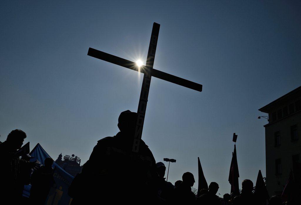 Demonstration von Bergarbeitern mit Kreuz in Sofia, Bulgarien EPA/VASSIL DONEV