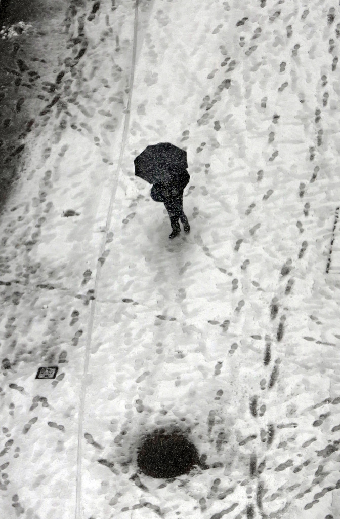 Schneebedeckte Wall Street in New York, USA (Keystone/AP Photo/Richard Drew)