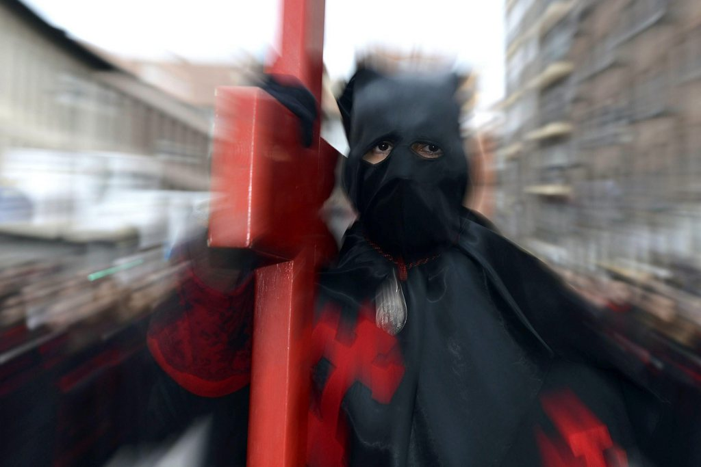 Prozession zur Karwoche in Valladolid, Spanien (Keystone/EPA/Nacho Gallego)