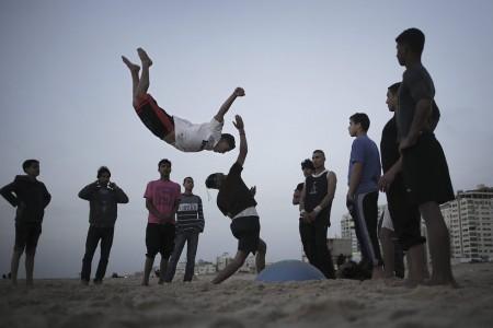 Schnappschuss am Strand von Al-Sheikh Agleen, Gaza Stadt (Keystone/EPA/Ali Ali)