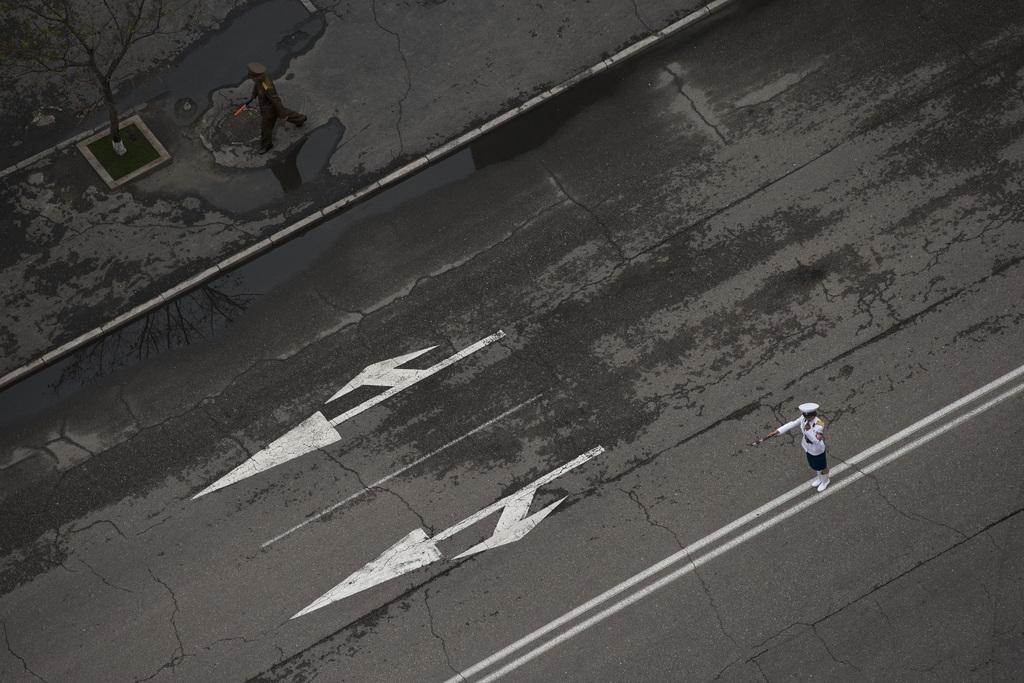 Straßenszene in Pjöngjang Nordkorea (AP Photo/Alexander F. Yuan)