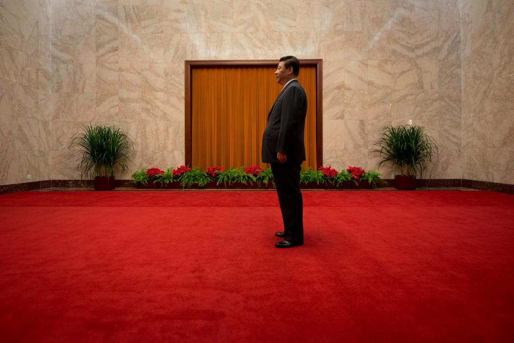 Warten auf den Staatsgast, Peking China (AP Photo/Ed Jones, Pool)