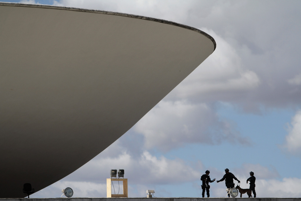 Militärpolizei in Brasilia, Brasilien (Keystone/AP Photo/Eraldo Peres)