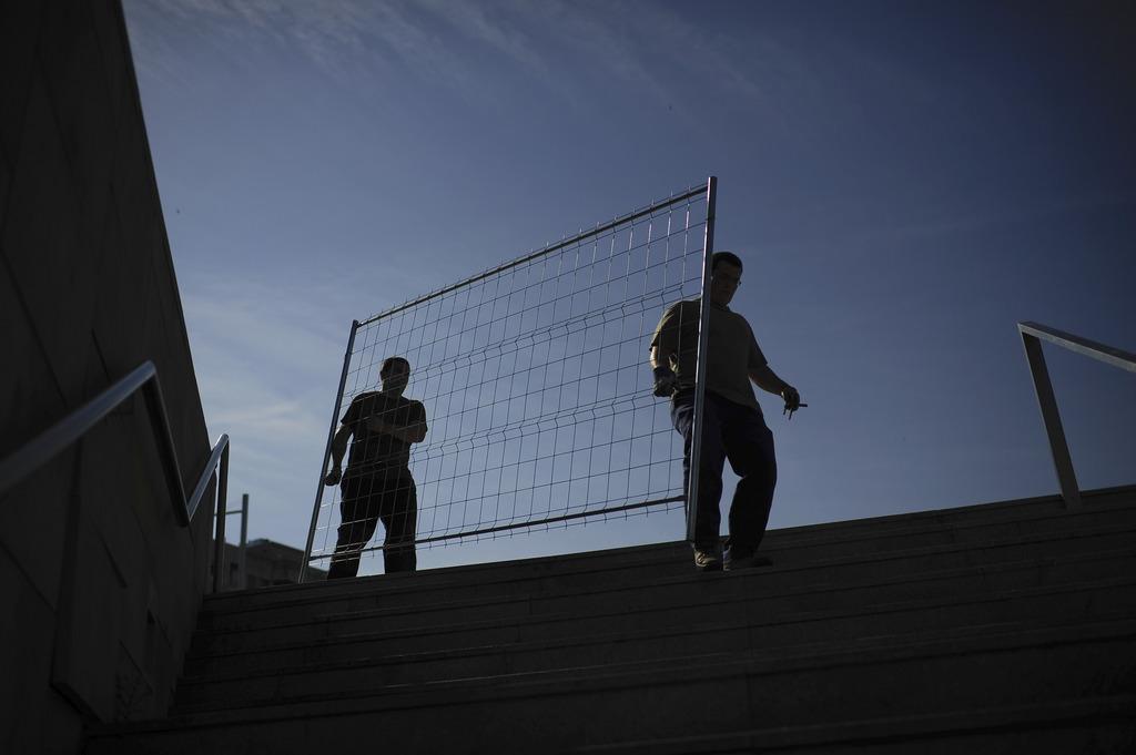 Arbeiten in Pamplona Spanien (AP Photo/Alvaro Barrientos)