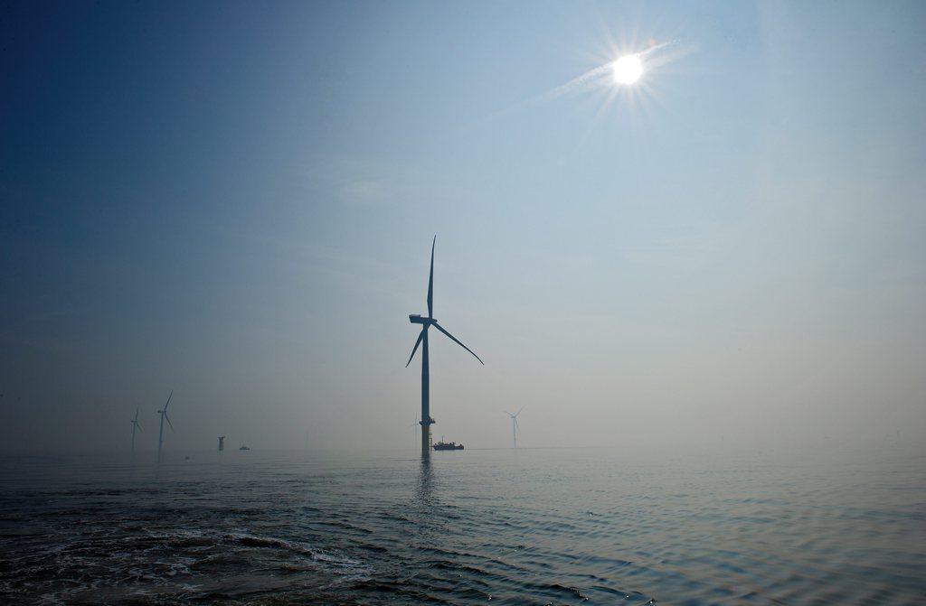 Die weltweit größte Windkraftanlage im Meer vor Margate, Großbritannien (Keystone/EPA/Mark Turner)