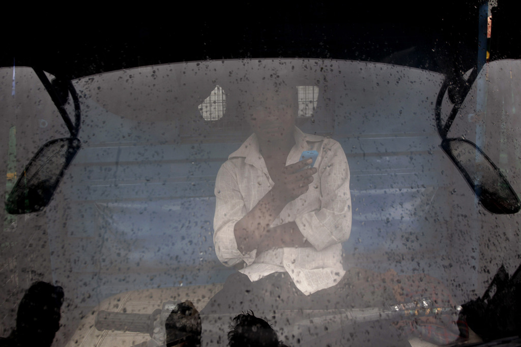 Lastwagenfahrer inNeu Delhi (AP Photo/Tsering Topgyal)