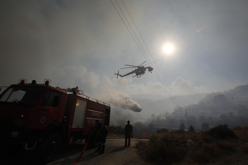 Waldbrand in Markopoula, Griechenland (Keystone/AP Photo/Kostas Tsironis)